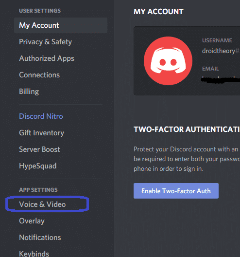 click on voice and video option discord