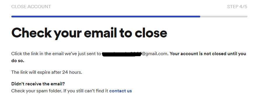 delete spotify account confirmation page