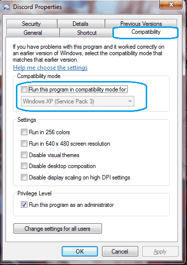 disable compatibility mode