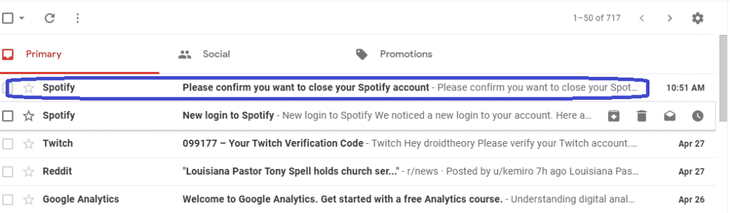 open spotify confirmation mail