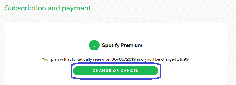 Spotify change or cancel plan