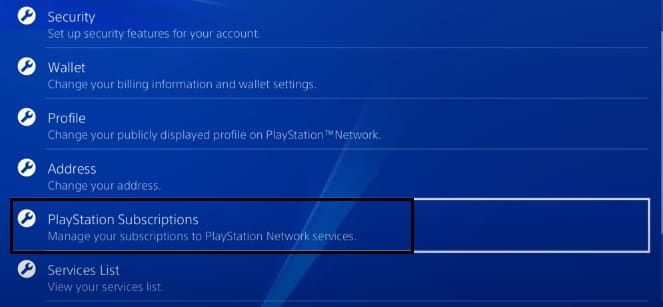 CLick on playstation subscriptions