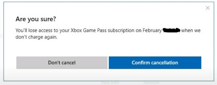 confirm xbox game pass cancellation