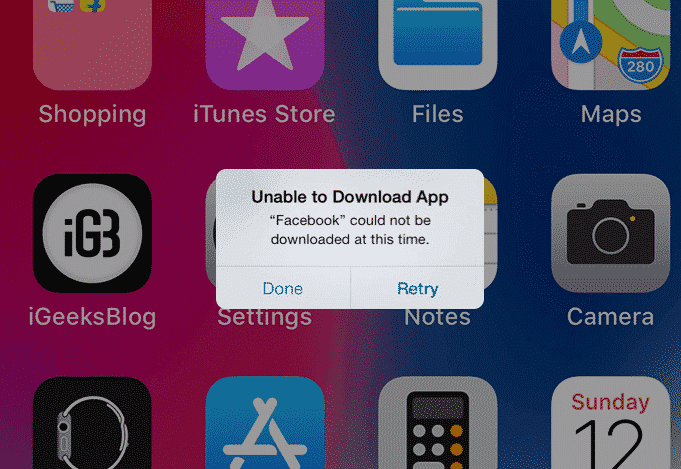 ios unable to download app