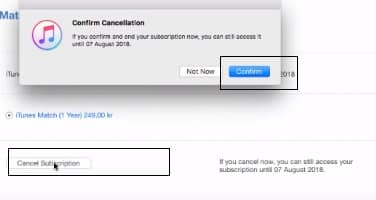 click on cancel subscription