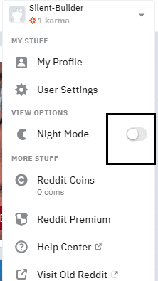 enable reddit dark mode