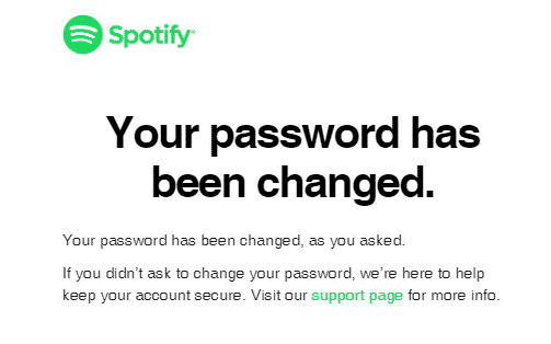spotify password has been changed