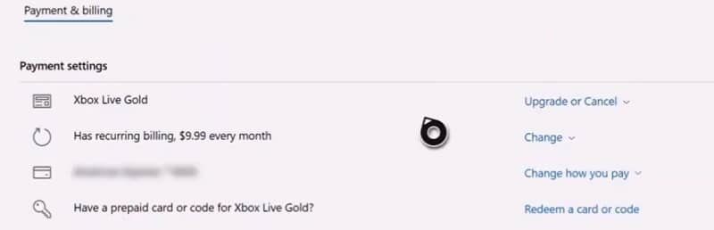 xbox live gold payment settings