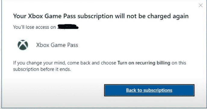 xbox game pass subscription cancelled