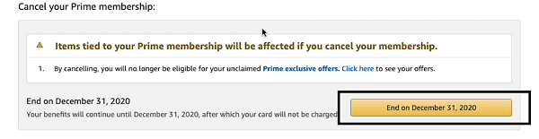 cancel amazon prime membership