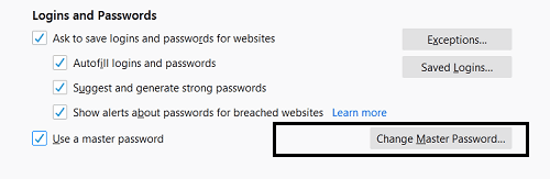 change firefox master password