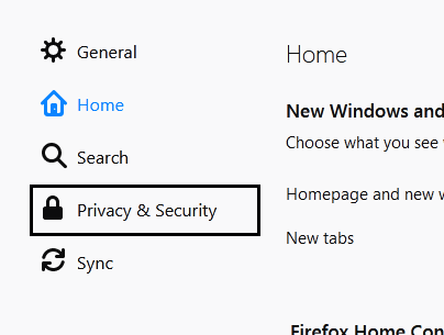 click on privacy and settings