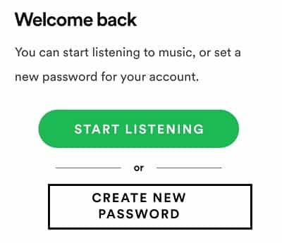 create new spotify password