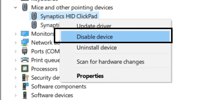 disable touchpad from device manager
