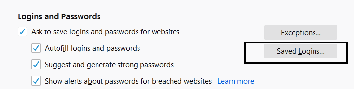 firefox saved password and logins