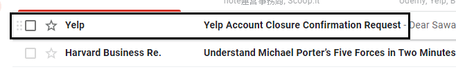 open yelp account delete mail