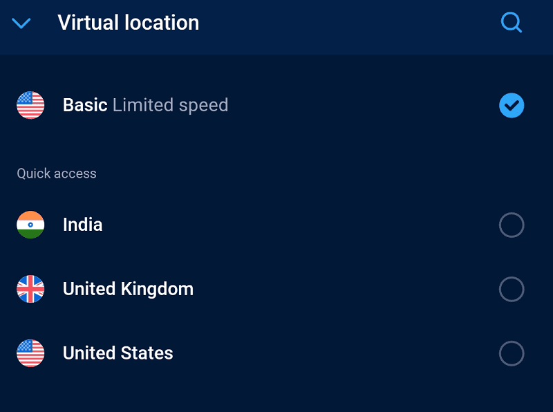 select the region or country