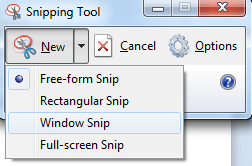 snipping tool screenshot modes