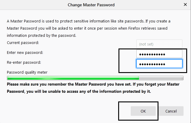 use firefox master password