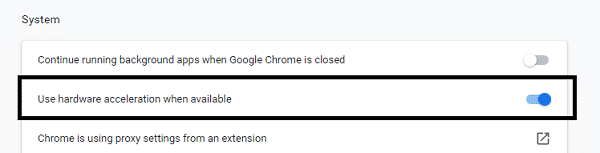 enable or disable chrome hardware acceleration