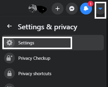 click on facebook settings