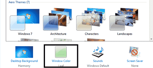 click on window color
