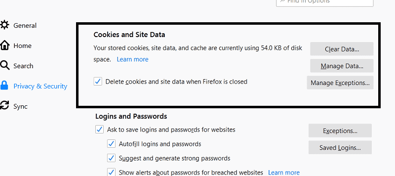 delete firefox cookies and cache data