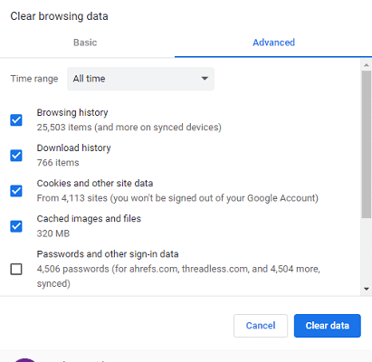 clear cookies on chrome
