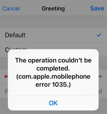 com.apple.mobilephone error code 1035