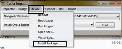 install package option cydia