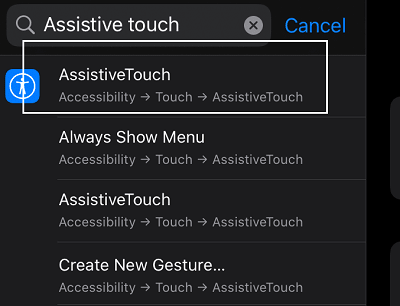 search assistive touch