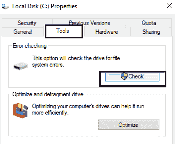 check for c drive errors