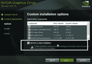 perform a clean reinstall of geforce