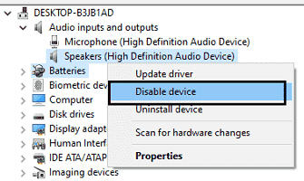 disable audio device
