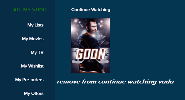 vudu remove from continue watching
