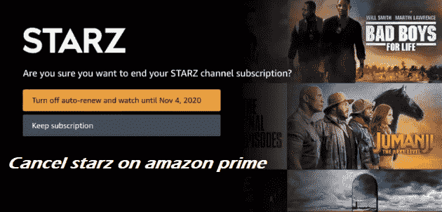 how to cancel starz on amazon prime